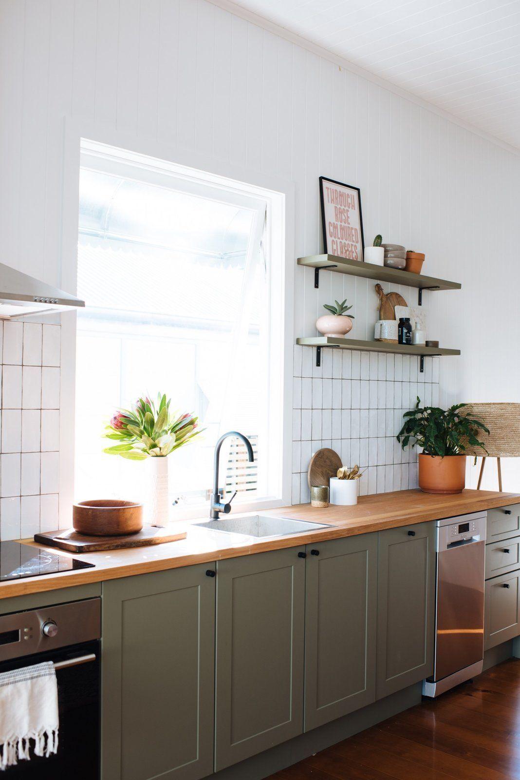 Trend Alert Butcher Block Countertops Cococozy In 2020 Green Kitchen Cabinets Kitchen Renovation Kitchen Design