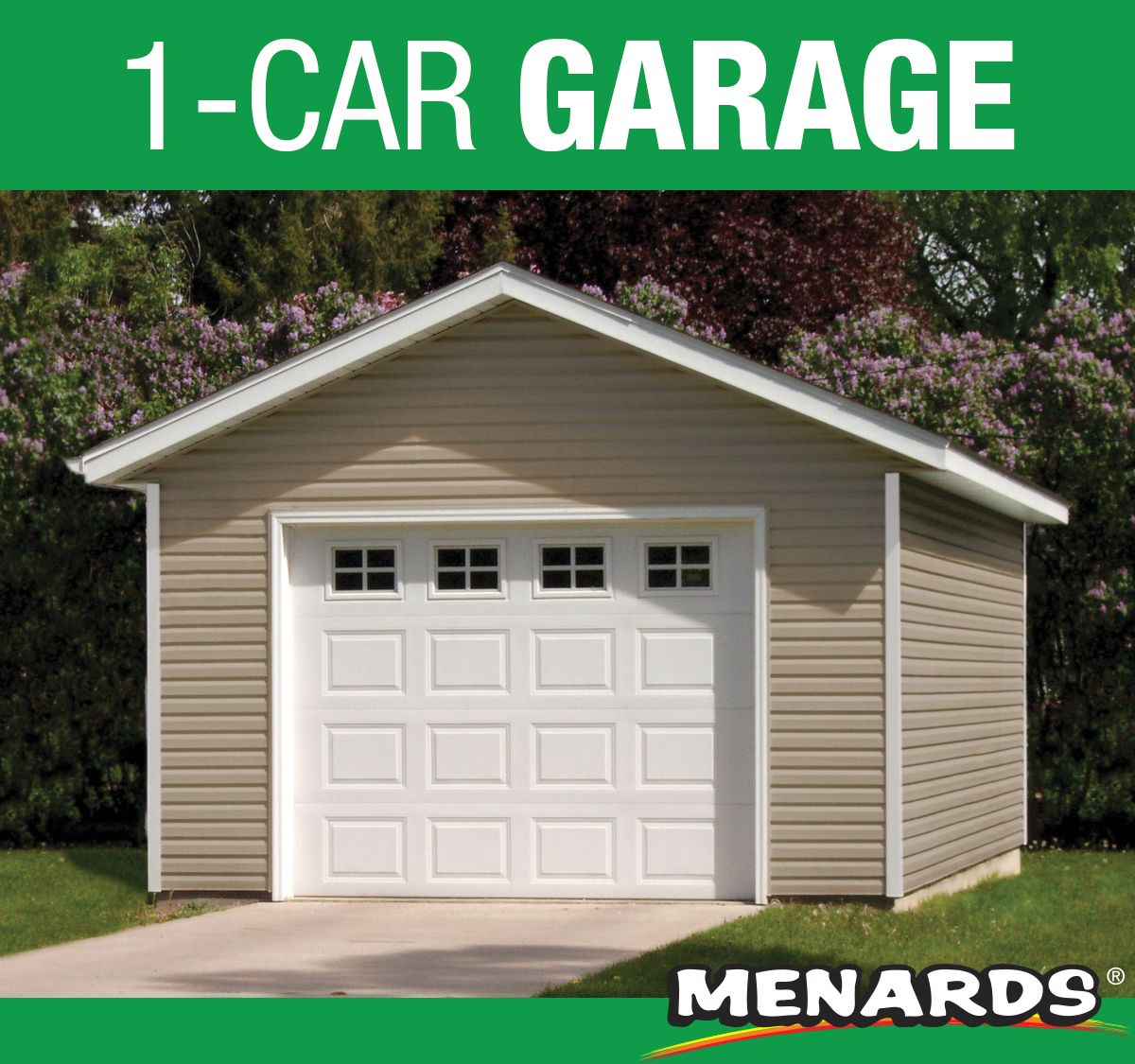 The 12 X 20 X 8 One Car Mini Low Maintenance Garage Features One 9 X 7 Overhead Garage Door And A Prehung Garage Door Makeover Overhead Garage Door Garage