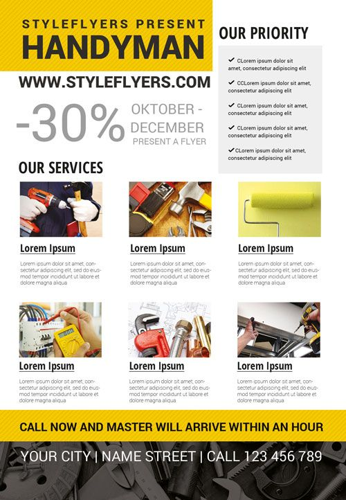 Handyman Business Free Flyer Template - http\/\/freepsdflyer - handyman flyer template