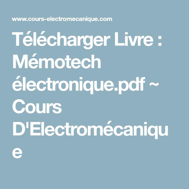 MEMOTECH ELECTROTECHNIQUE LIVRE GRATUIT TÉLÉCHARGER
