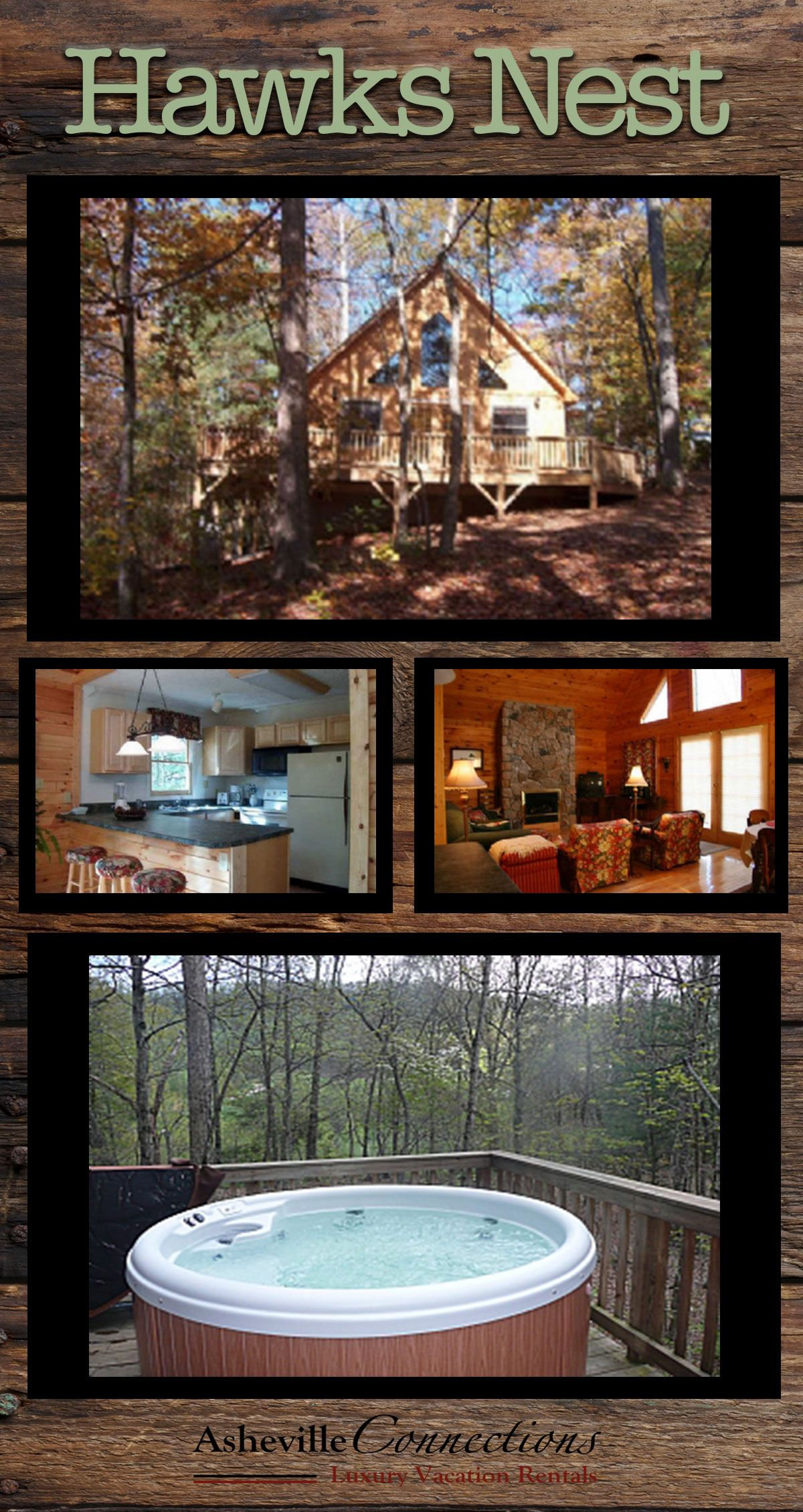 One Of Our Most Romantic Chalets Hawks Nest Is A Very Nicely Decorated All Wood Home Within 15 Minutes Of Bilt Vacation Cabin Rentals Hot Tub Outdoor Vacation