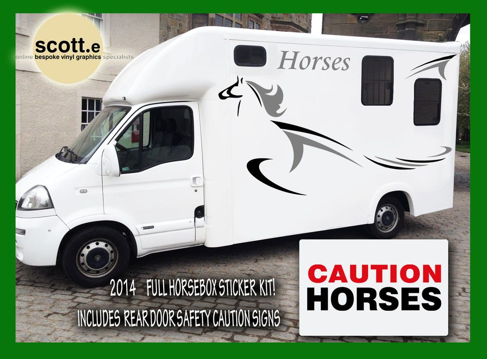 Horsebox sticker set new for 2014 vinyl graphics trailer van horse box decals in sporting