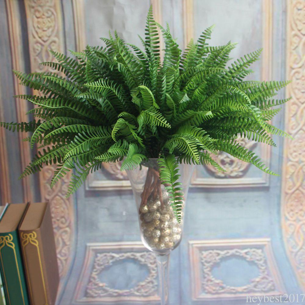 Large Plastic Lifelike Artificial Fern Foliage Plants Indoor//outdoor Decor Green