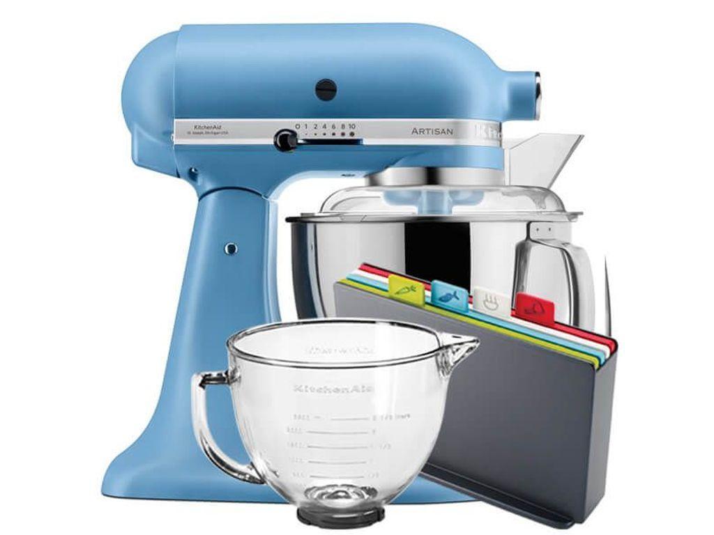 Kitchenaid velvet blue artisan 48l stand mixer with free