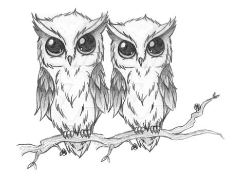 Two Owls Tattoo Idea Hibou Dessin Dessins Faciles Dessin Animaux Mignons