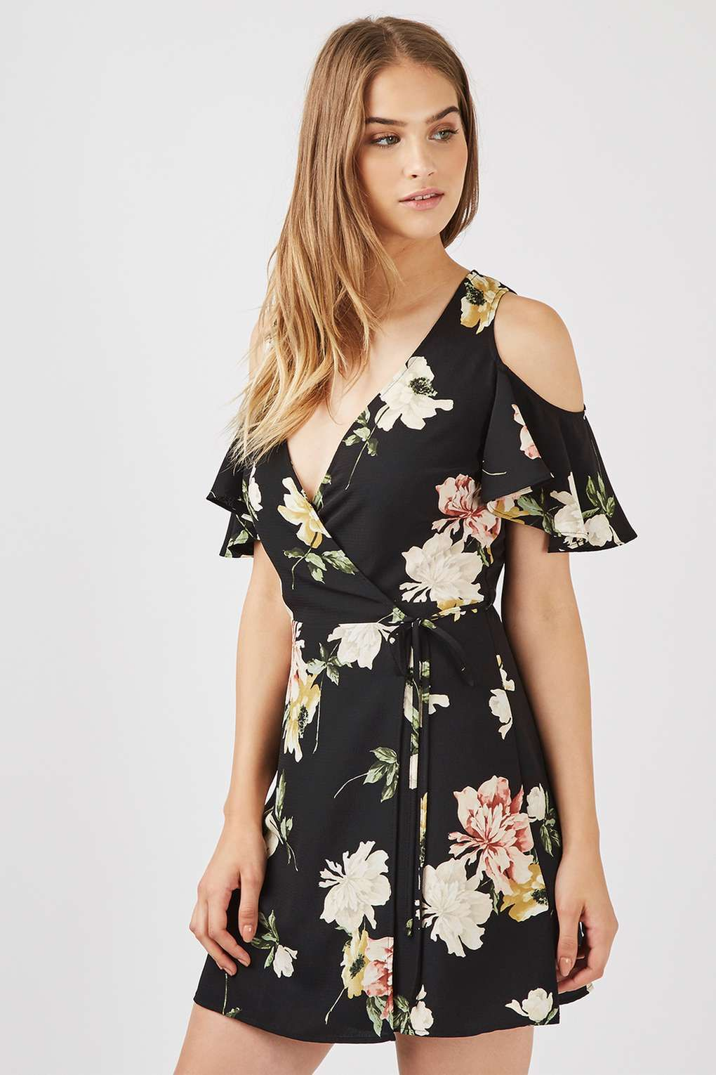 12f6ff174c3 Floral Cold Shoulder Wrap Dress - Dresses - Clothing - Topshop USA