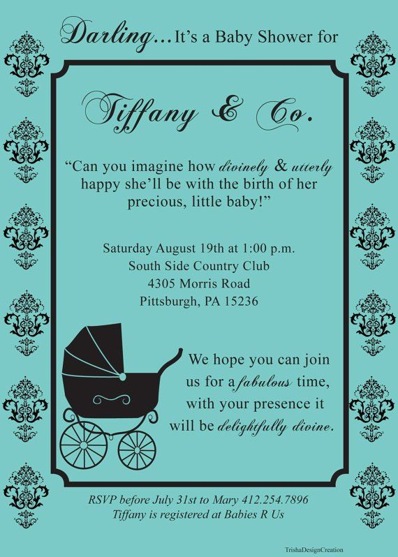Custom Breakfast At Tiffany Baby Shower Theme Invitation Each With Envelopes