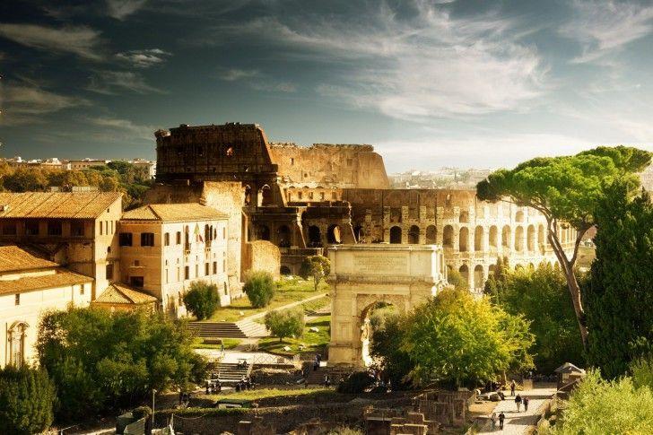 Coliseu, na Itália, Roma, Arquitetura, Casa, Arco de Constantino, árvores wallpapers
