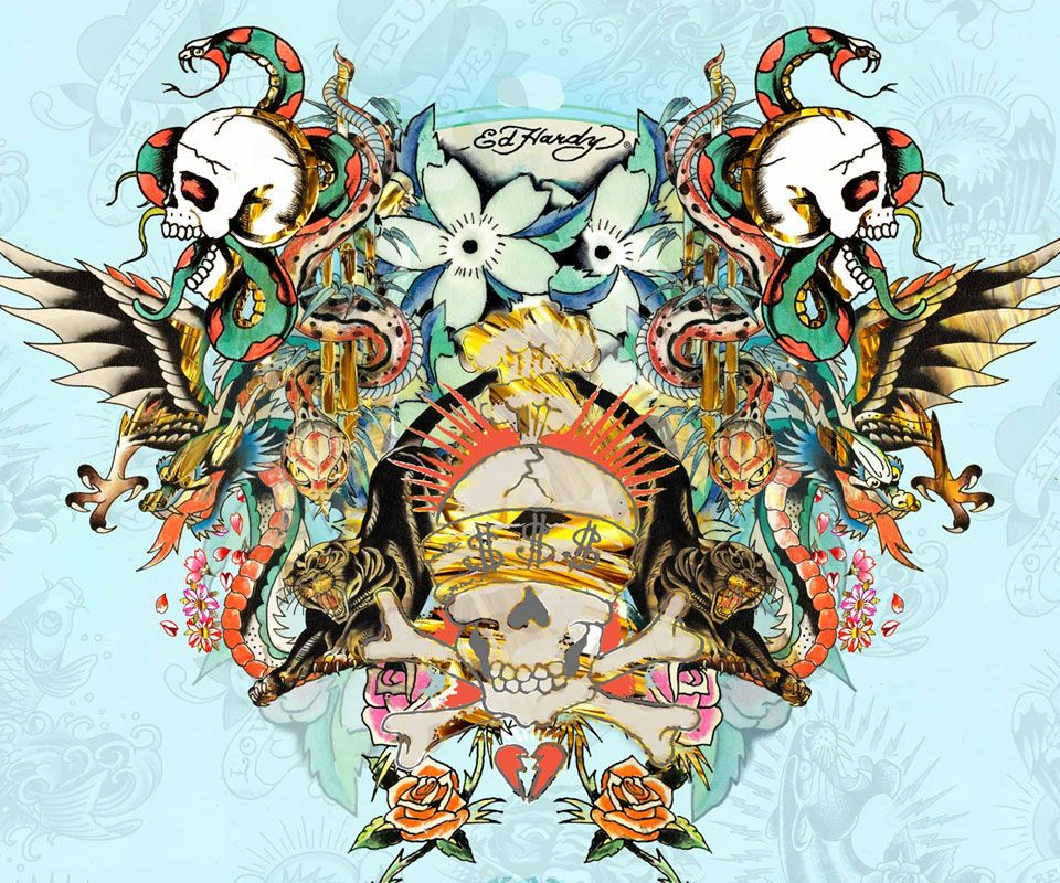 Skulls Tattoo Design Wallpaper: Ed Hardy $$$ Skull