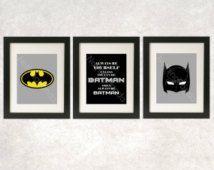 Batman Art // Superhero Wall Art // Always Be Batman Prints // Superhero Decor / Superhero Art / Batman Print / Set of 3 / Superhero Bedroom