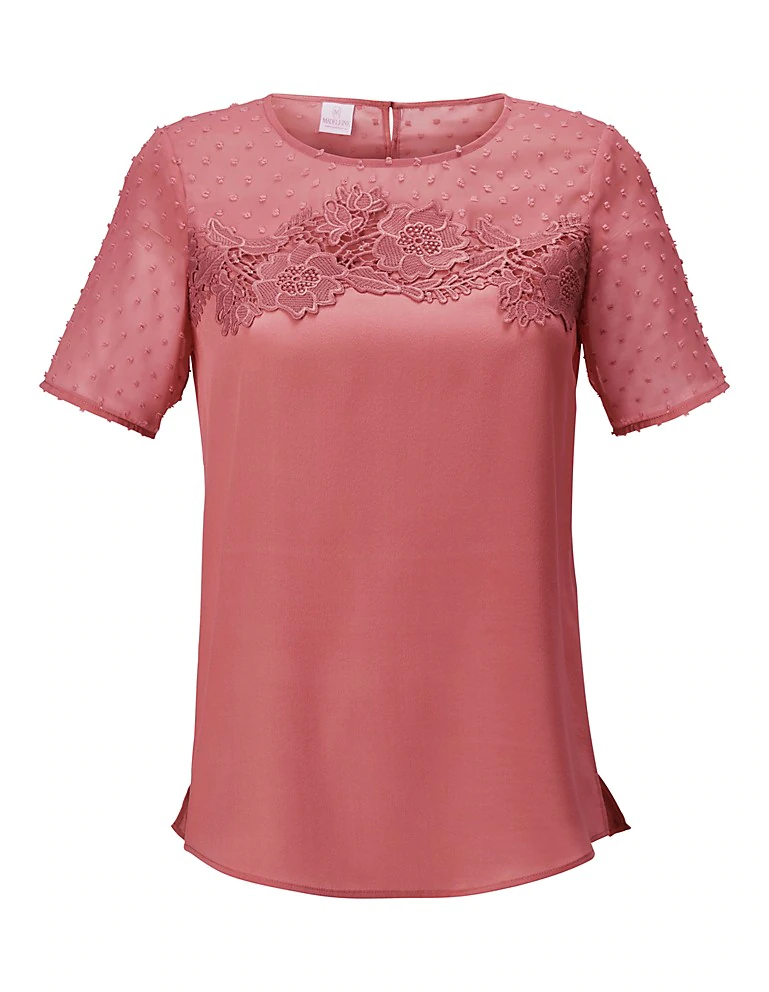 Kurzarm Bluse Aus Seide Mit Transparenter Spitze Altrosa Rosa Madeleine Mode In 2020 Tunic Tops Fashion How To Wear