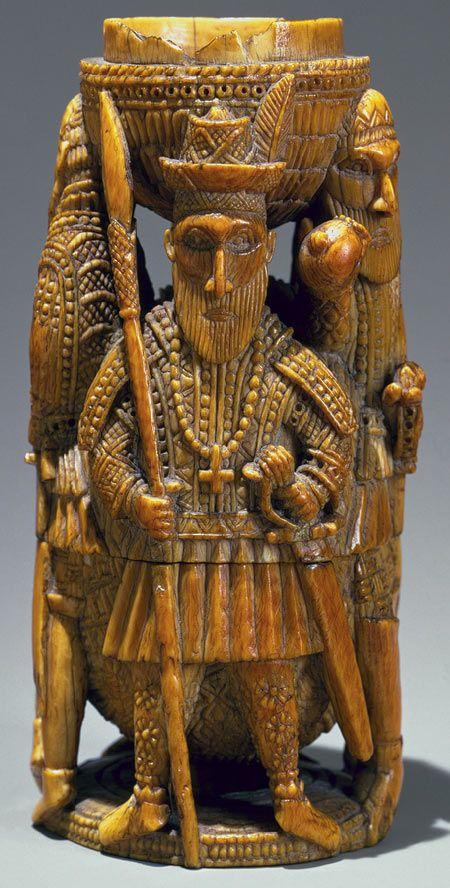 Saltcellar: Portuguese Figures, 15th–16th century Nigeria; Edo peoples, court of Benin Ivory