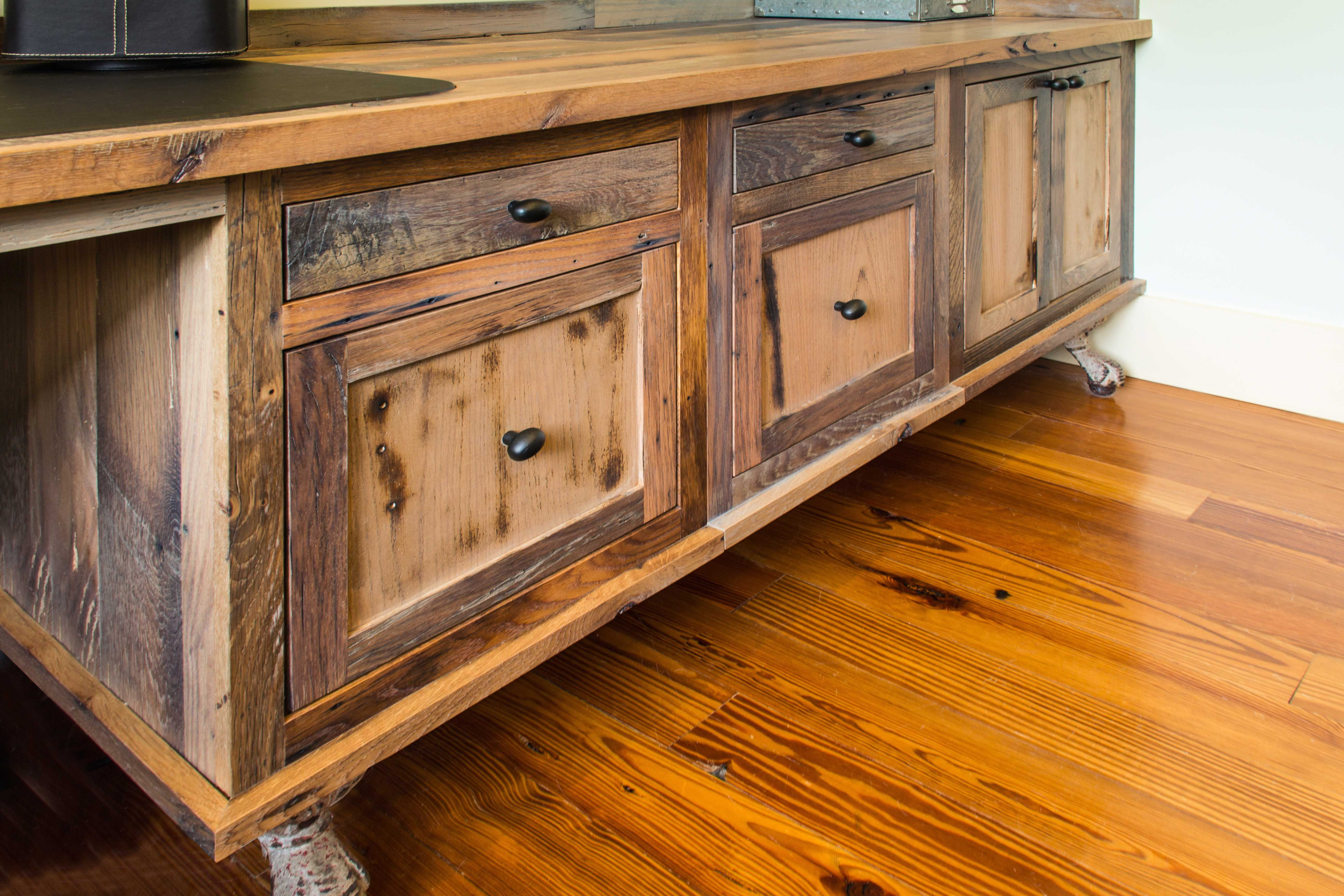 Reclaimed Wood Rustic Home Office: Longleaf Lumber Reclaimed Skip-planed Oak Used For
