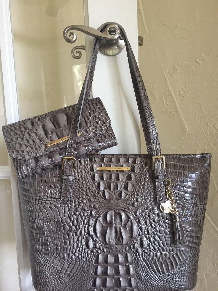 Brahmin Medium Asher Tote Soft Checkbook Wallet Falcon Melbourne Leather Set Ebay Handbagsleather