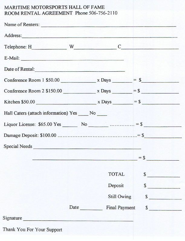 Banquet Rooms Banquet Room Rental Agreement facility rental – Auto Rental and Lease Form