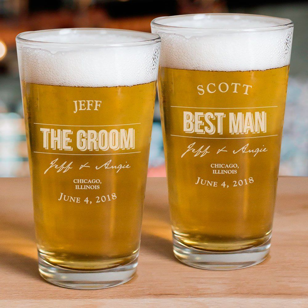 Engraved groomsmen beer glass wedding gifts for