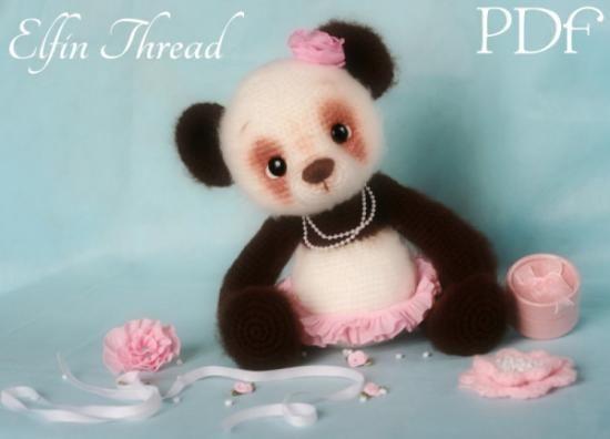 Amigurumi Oso Panda Patron : Oso de panda hilo patrón patrón de crochet amigurumi gancho poli