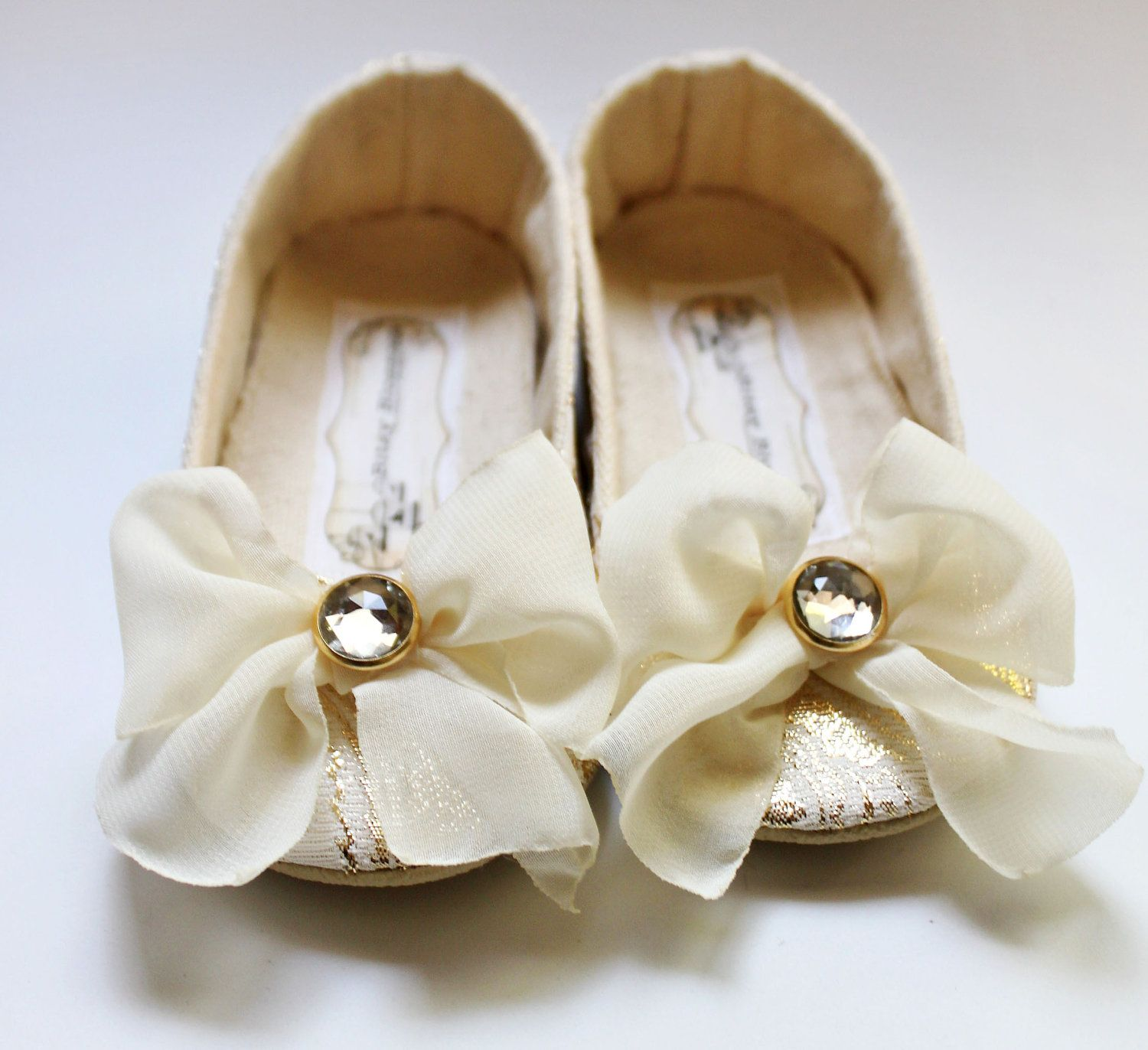 Baby Shoes Soft Soled Cream and Gold Arabella Wedding Shoes Flower