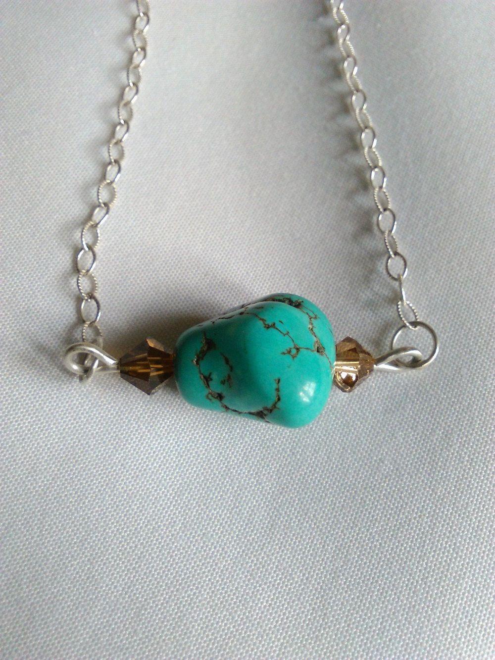 Turquoise Nugget Necklace - Gemstone Bar Necklace - Minimal Stone Necklace - Gemstone and Silver Bar Necklace - Turquoise and Crystal by KarenElizabethJ on Etsy
