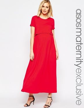 56809ae6ba3ee ASOS Maternity NURSING Maxi Dress With Double Layer | Maternity ...