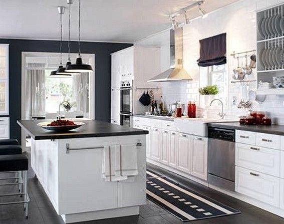 Etonnant Black Granite Countertops Composite Sink IKEA Kitchen Cabinet Chic White  Painted Finish Cabinets Pendant Lamps Brown Color White Tile Backsplash