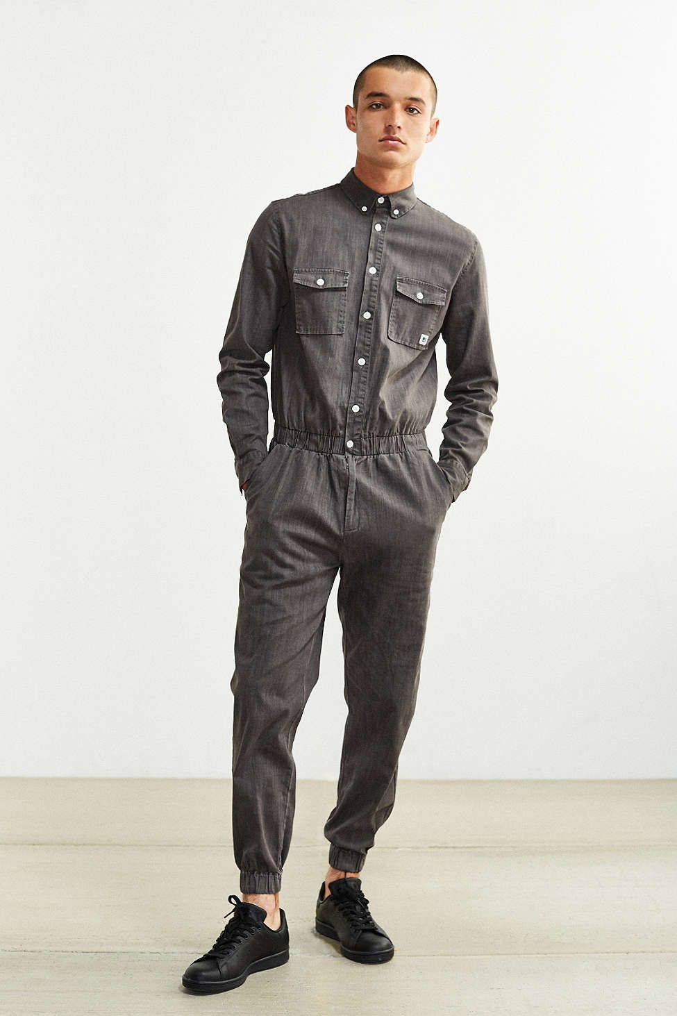 standard issue denim long sleeve jumpsuit him denim. Black Bedroom Furniture Sets. Home Design Ideas