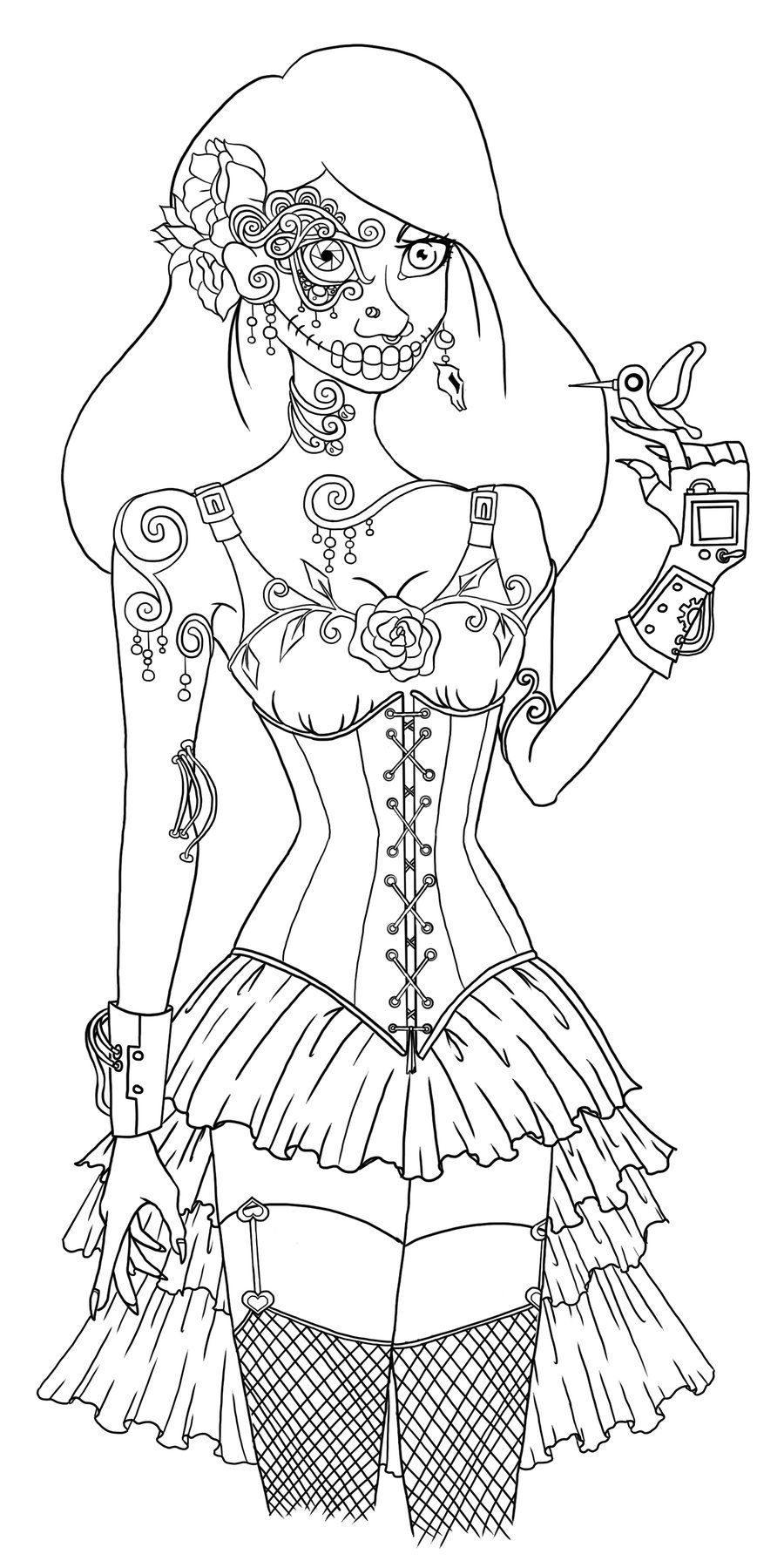 Coloring Books Day Of The Dead Steampunk Lineart By Woodspell