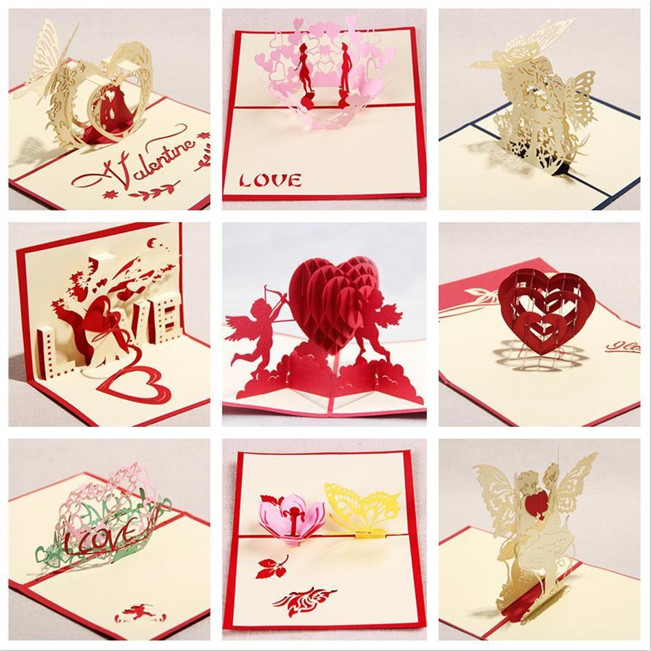 Valentine greeting cards handmade love theme kirigami 3d pop up valentine greeting cards handmade love theme kirigami 3d pop up card 9pcs set combination sale kristyandbryce Images