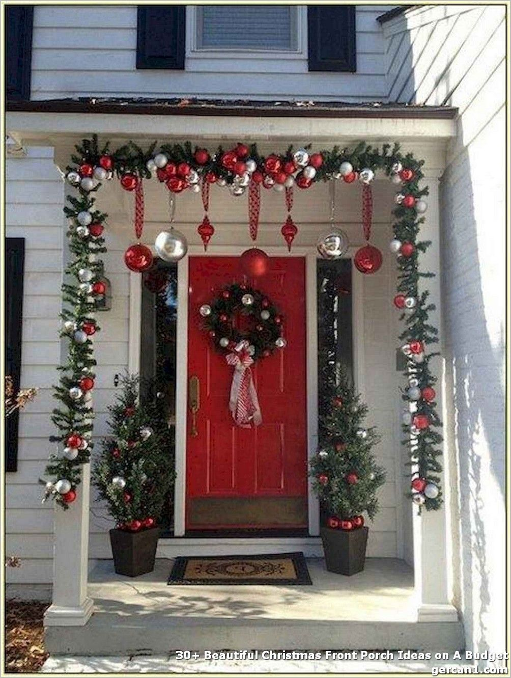 30 Beautiful Christmas Front Porch Ideas On A Budget Christmas Porch Decor Christmas Decorations Diy Outdoor Porch Christmas Tree