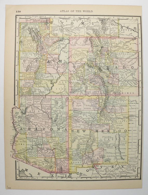 Map Of Southwest Arizona.Southwest Us Map 1888 Arizona Map New Mexico Colorado Map Utah