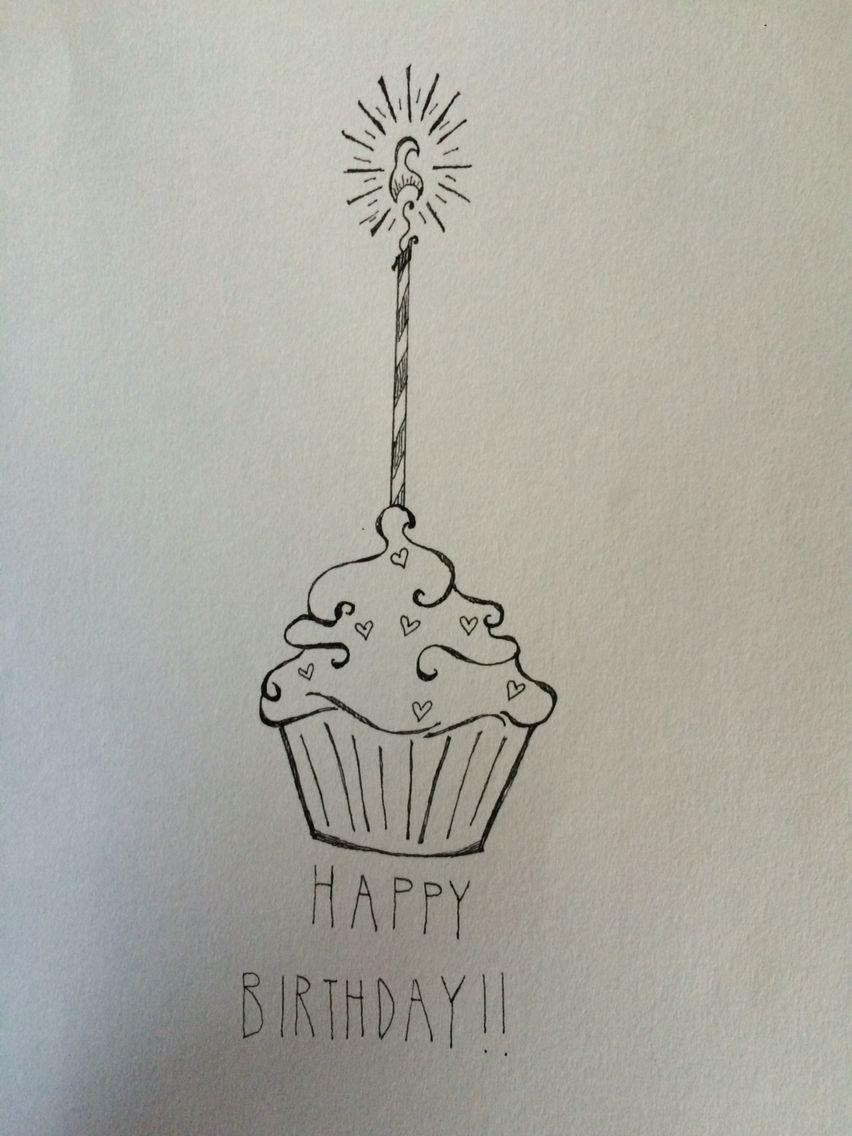 Birthday cupcake drawing (With images) Cupcake birthday