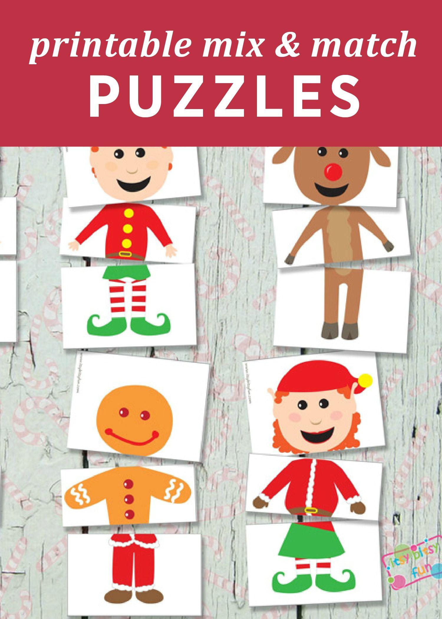 Printable Christmas Puzzles Busy Bag
