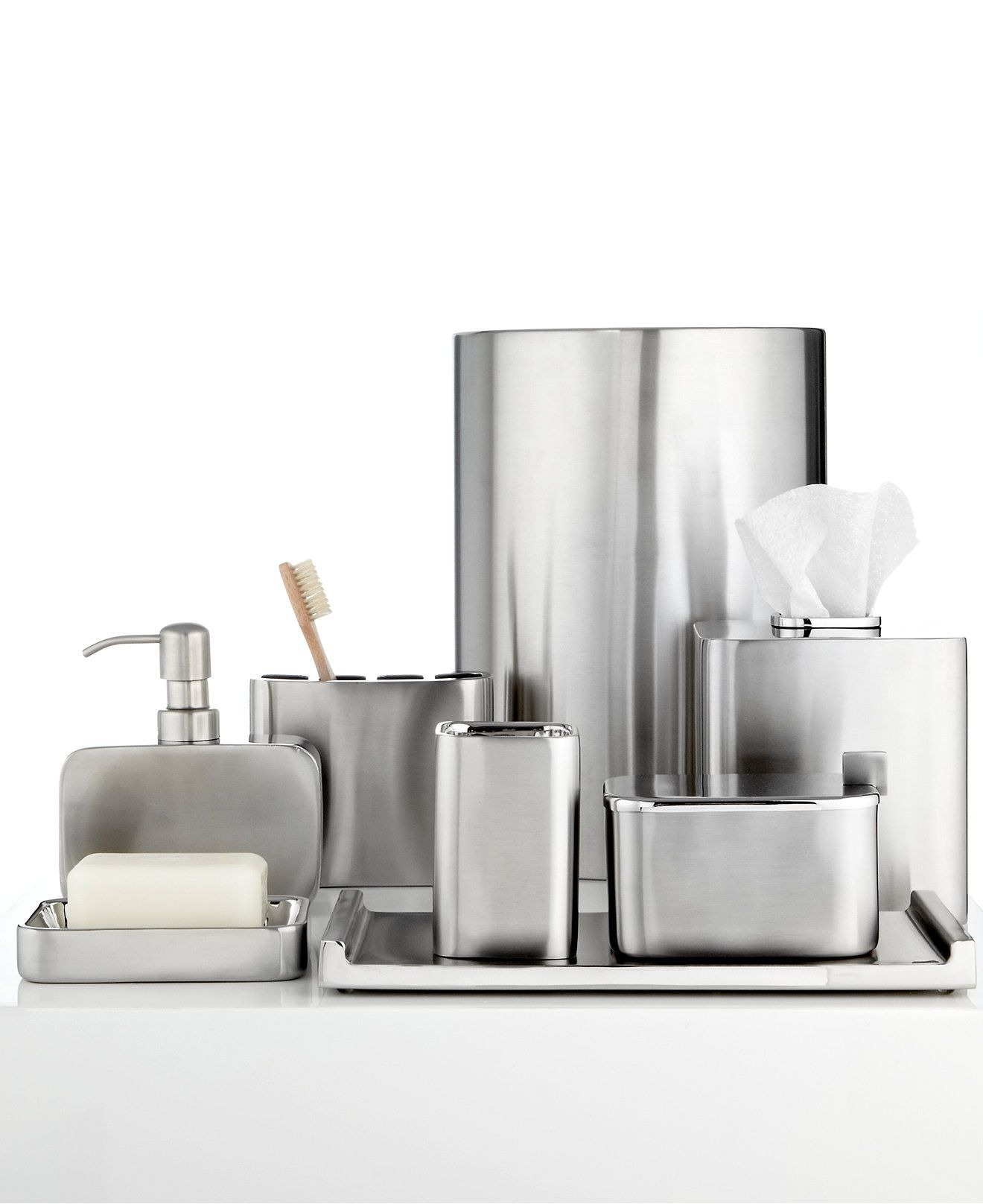 closeout! hotel collection hotel modern brushed stainless steel
