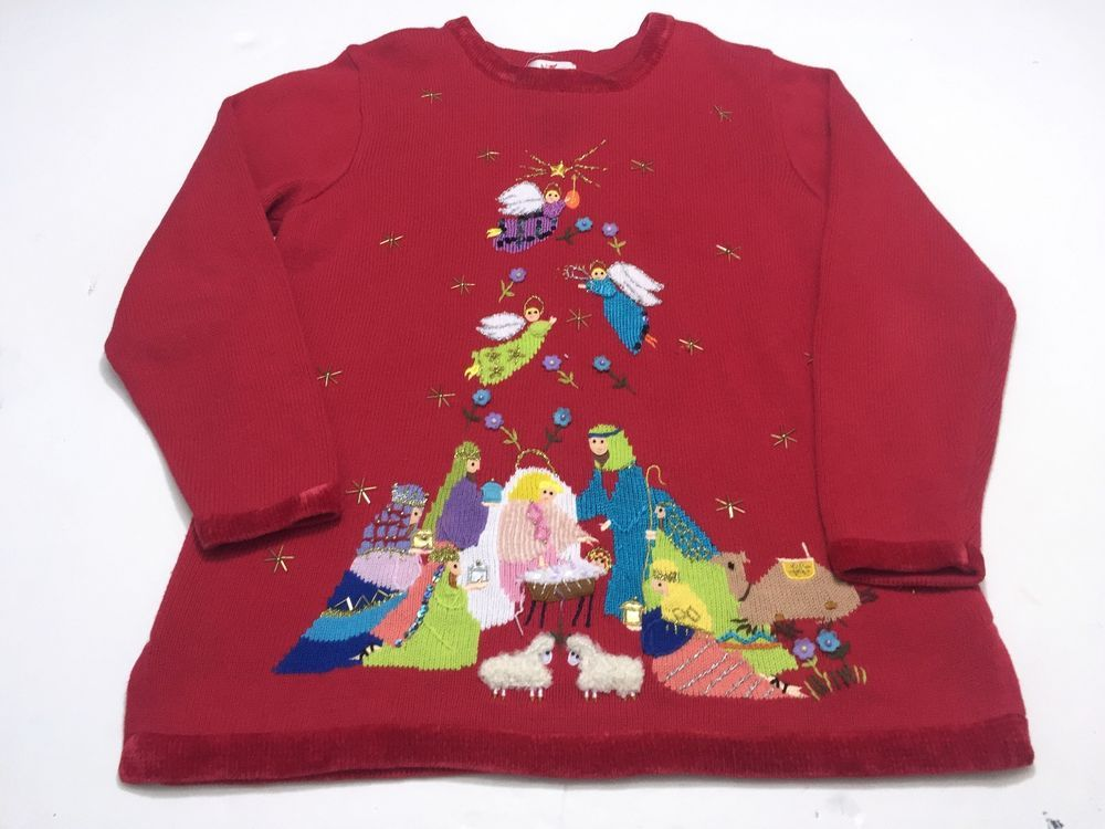 Ugly Christmas Sweater Baby Jesus Nativity Scene Angels North Star