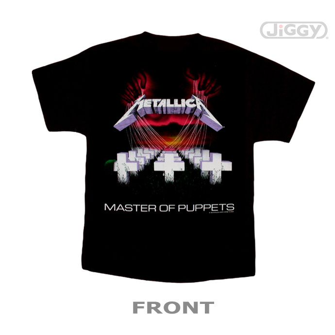 """JiGGy.Com - Metallica - Master of Puppets T-Shirt Metallica t-shirt with full color artwork from their third album """"Master of Puppets"""" which was released in 1986 on Elektra records. Printed on a black 100% cotton t-shirt."""
