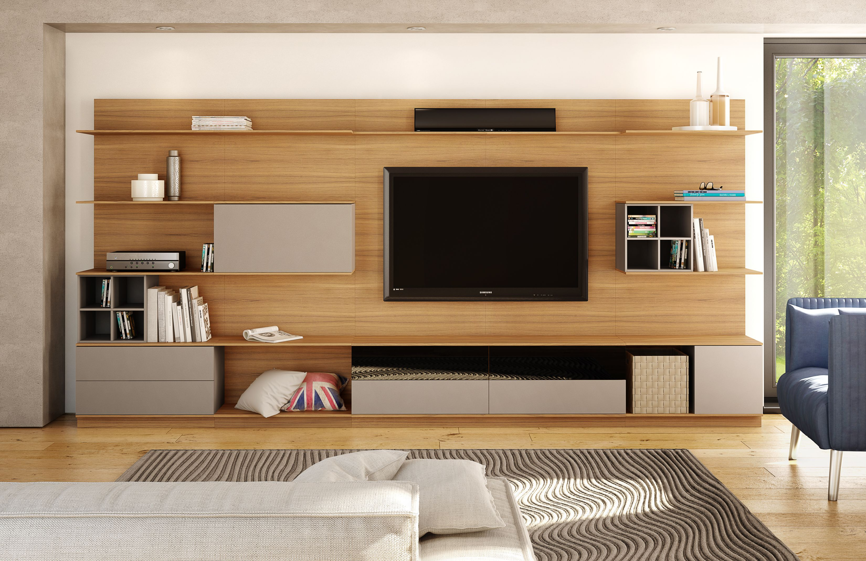 Modern Natural Oak Wood Panel Entertainment Wall Unit With Organization /  Storage Inserts In Grey Or