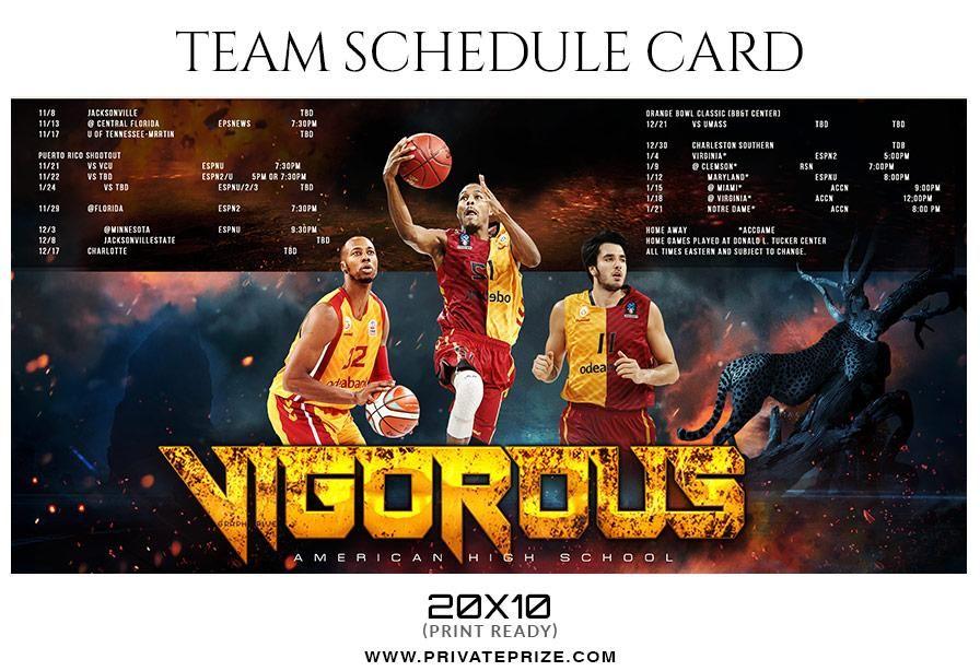 Basketball team sports schedule card templates