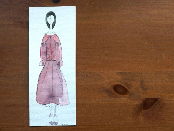 Beautiful chanel inspired red dress Etsy: https://www.etsy.com/es/listing/505717392/ilustracion-marcapaginas-fashion