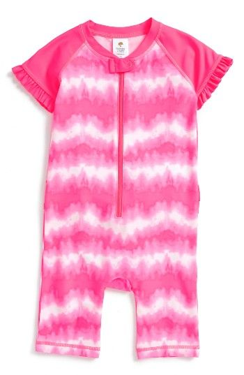 d0577e39eef8 Free shipping and returns on Tucker + Tate One-Piece Rashguard Swimsuit ( Baby Girls) at Nordstrom.com. Rashguard coveralls wrapped in stripes feature  a ...
