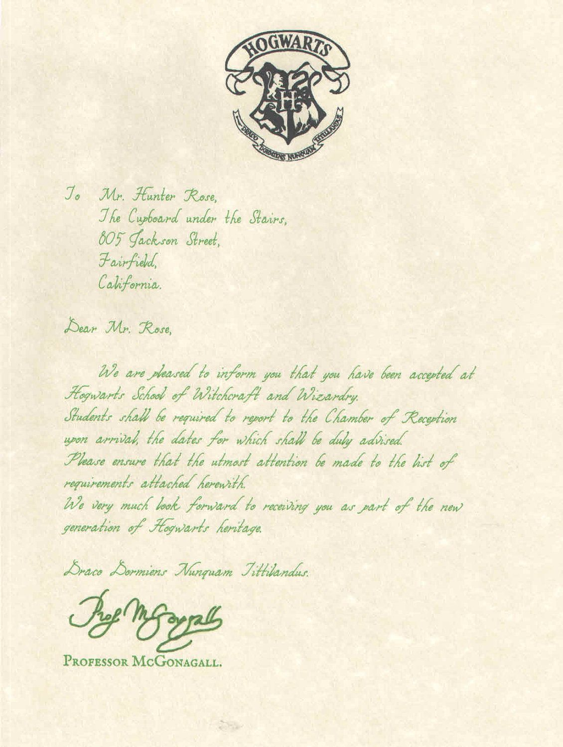 Hogwarts Acceptance Letter (Movie Version) Personalized for a