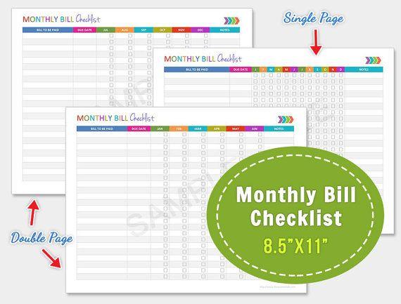 Monthly Bill Checklist, Finance Checklist, Bill Payments Checklist - format for a bill