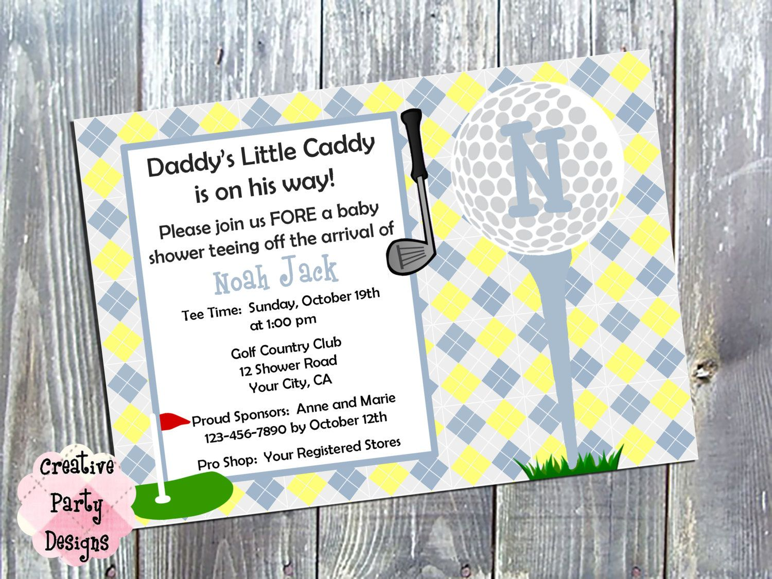 Daddy\'s Little Caddy Baby Shower Invitation - Golf Themed Baby ...