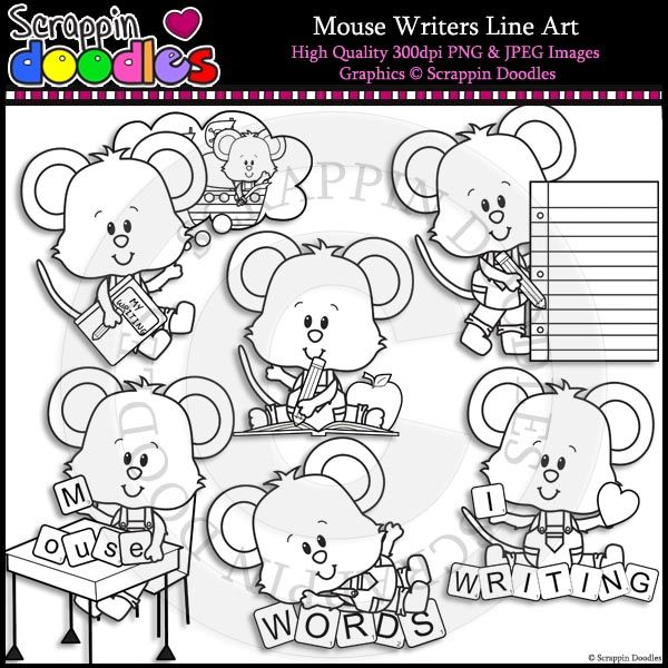 Mouse Writers Line Art