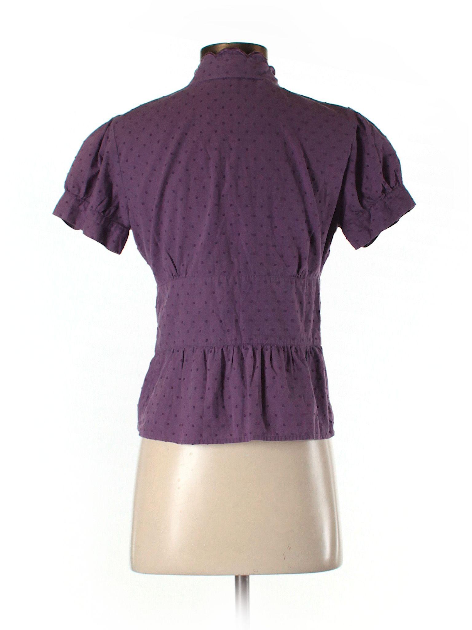 Isaac Mizrahi for Tar Short Sleeve Button Down Shirt Purple