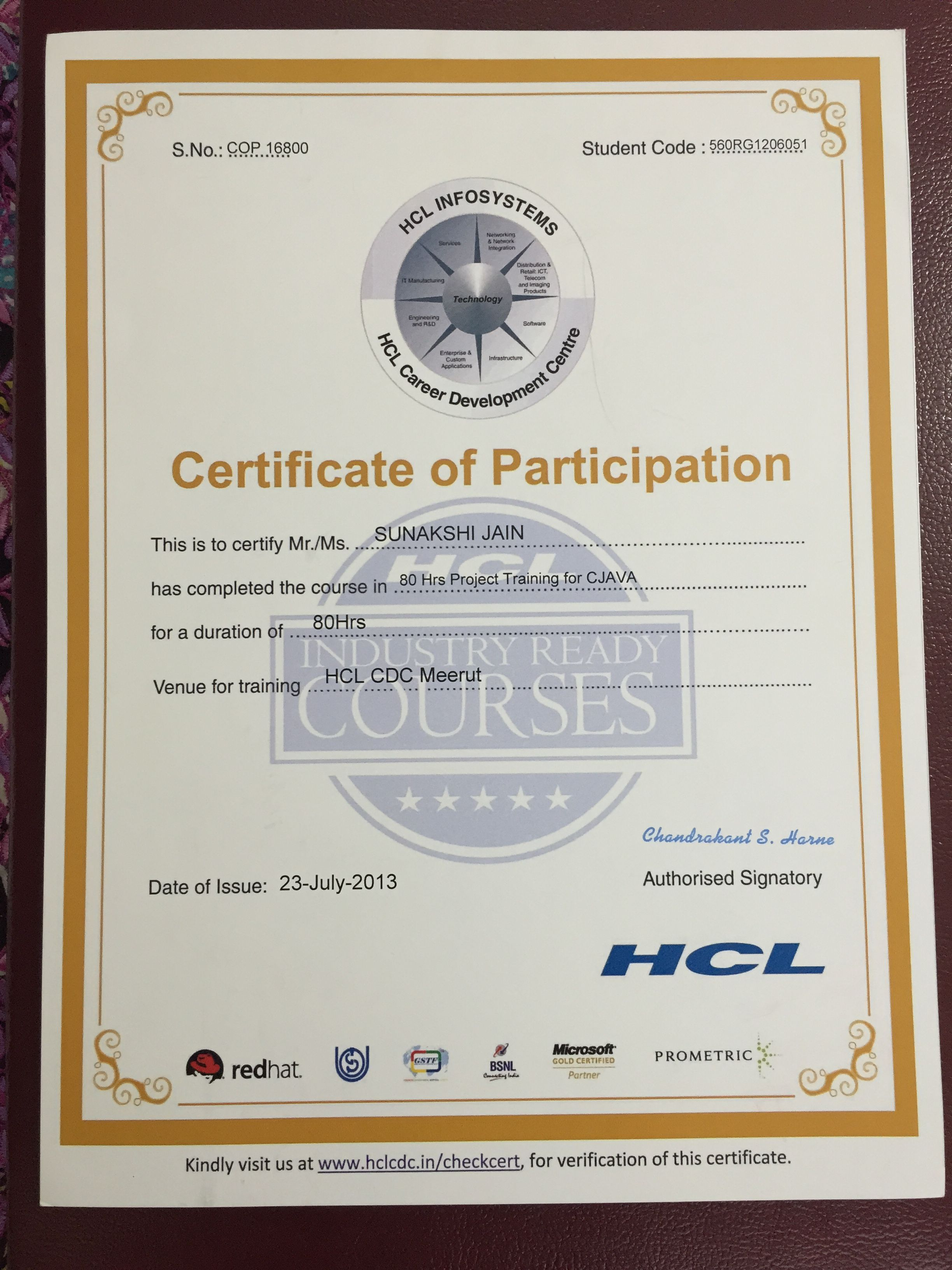 Certificate For Having Completed Core Java Training Sunakshi Jain
