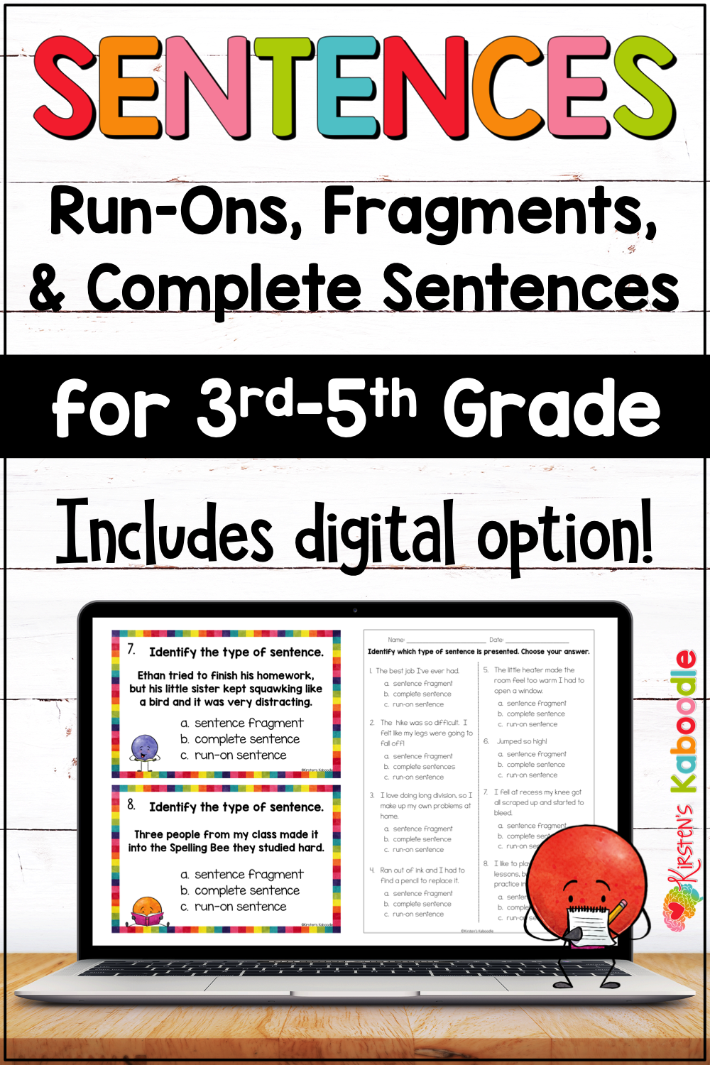 hight resolution of Fragments and Run On Sentences Activities with Digital Option for 3rd