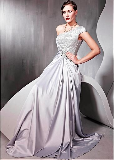 In Stock Elegant Matte Silk-like & Beaded Tulle & Transparent Net & Malay Satin A-line One Shoulder Prom Dress #Dressilyme