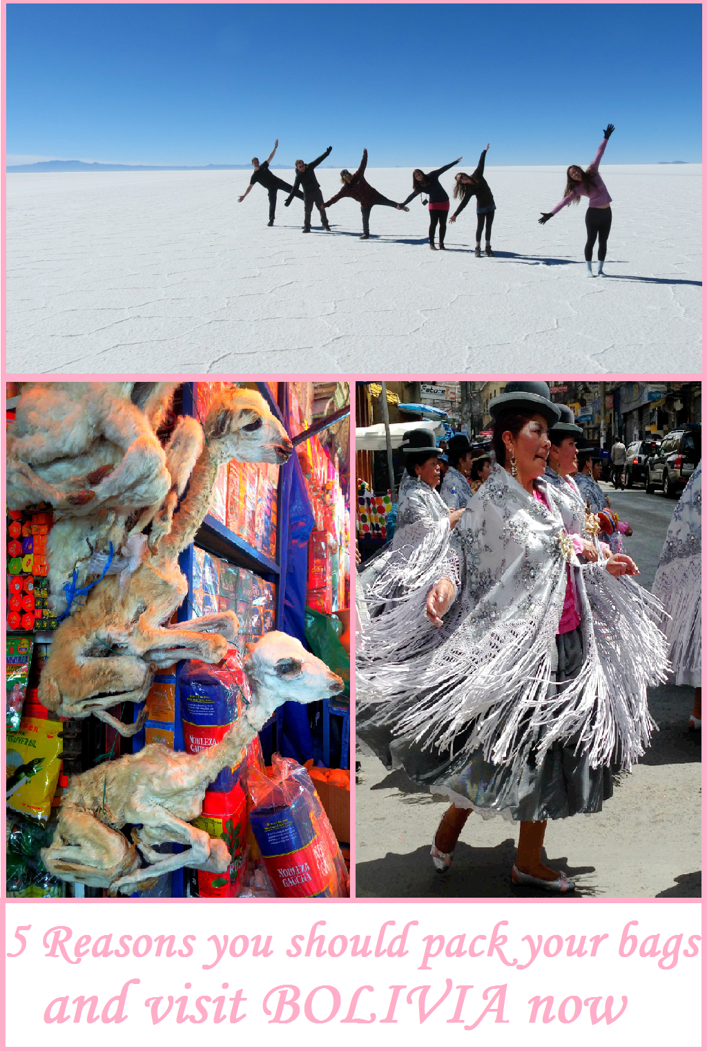 5 Reasons you should pack your bags and head to Bolivia right now. From the Tiwanaku Ruins to the Salt flats to lake Titicaca, Bolivia is a highlight for almost every traveler through South America!