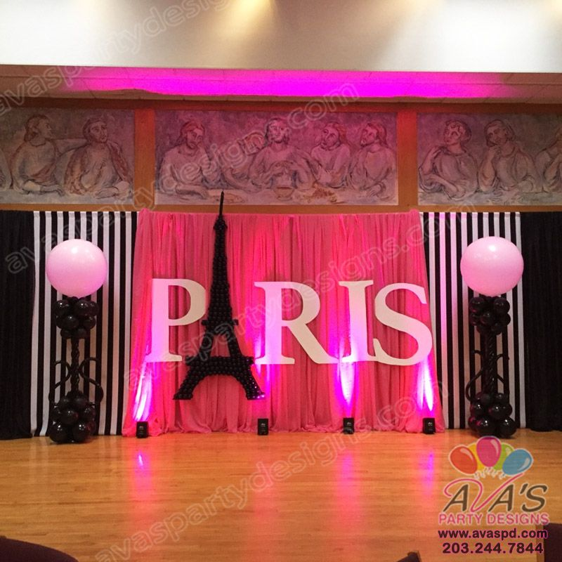 Paris Themed Balloon Decor And Fabric Backdrop. Large