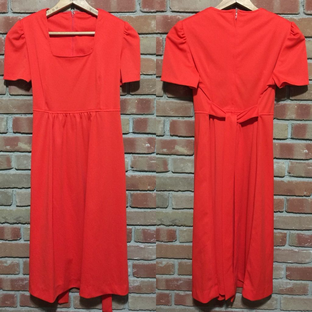 Red empire waist dress with tie back holiday products